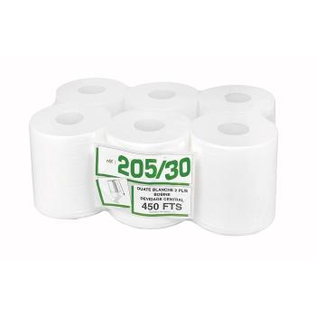 Bobines professionnel dévidage central - maxi-ouate - 450 formats - 19 x 30 cm - 6 rouleaux par colis - Ref 205/30