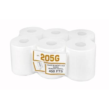 Bobines professionnel dévidage central gaufrées - maxi-ouate - 450 formats - 20 x 30 cm - 6 rouleaux par colis - Ref. 205G