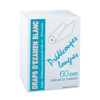 draps d'examens professionnel prédécoupes longues - 30 formats - 60 x 114 cm - 12 rouleaux par colis REF 504PL