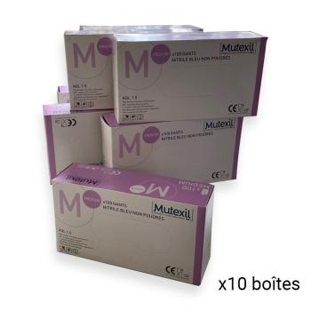 Gants nitriles non poudrés - Colis de 10 boîtes de 100 Gants - Ref. 2210