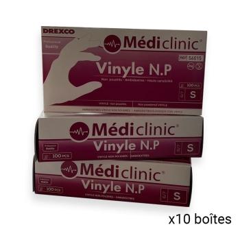 Gants vinyles non poudrés - Colis de 10 boîtes de 100 Gants - Ref. 3055