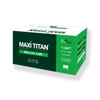 Papier hygiénique professionnel 2 plis maxi Titan - 320 m - 6 rouleaux par colis - Pure ouate - Ref 420 ECOLO GREEN