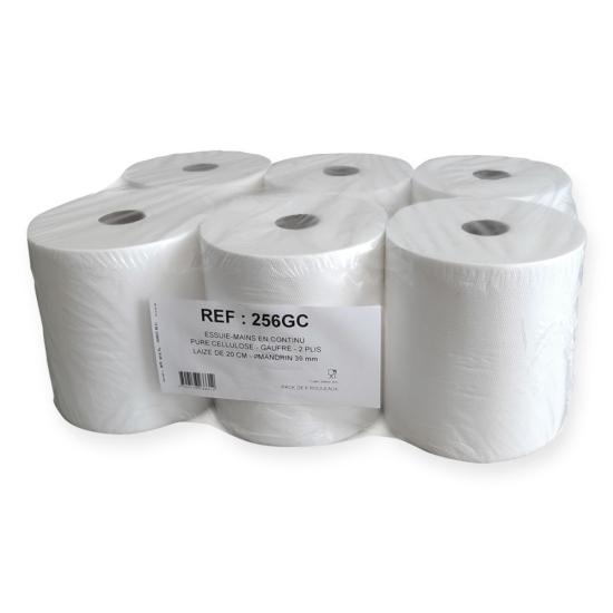Bobines d'essuyage professionnel sans prédécoupe - maxi-ouate - 20 cm x 150 m - 6 rouleaux par colis - Ref 256GC