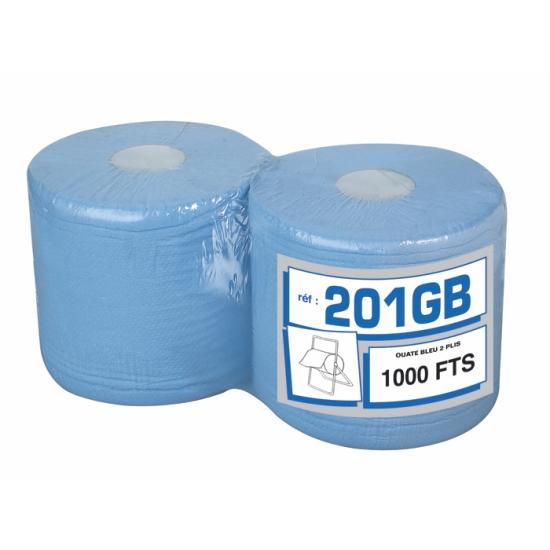 Bobines d'essuyage professionnel gaufrées bleues - 1000 formats - 22 x 30 cm - 2 rouleaux par colis