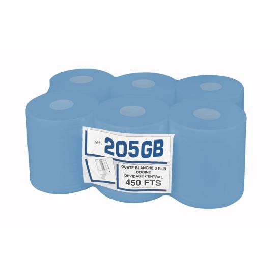 Bobines professionnel dévidage central gaufrées bleues - maxi-ouate - 450 formats - 19 x 30 cm - 6 rouleaux par colis