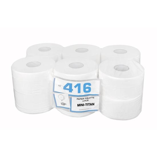 Papier hygiénique professionnel 2 plis mini-Titan - 160 m - 12 rouleaux par colis - Pure ouate