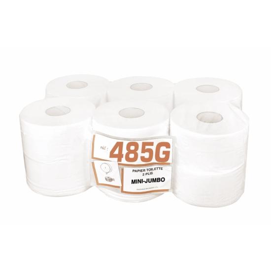 Papier hygiénique professionnel 2 plis gaufré mini-jumbo - 160 m - 12 rouleaux par colis