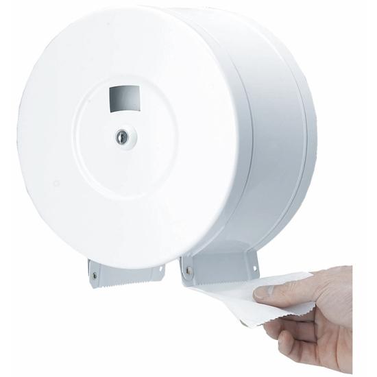 distributeur professionnel papier hygiénique métal - 400 mètres - ø 29 x H 11 cm - REF. 10551