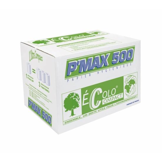 Papier hygiénique - P'MAX 500 - 500 formats - 9,4 x 11,5 cm - 36 rouleaux par colis REF 421EC