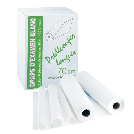 draps d'examens professionnel prédécoupes longues - 30 formats - 70 x 190 cm - 12 rouleaux par colis REF 503PL