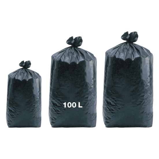 Sacs poubelles professionnel noirs - basse densité - 100 Litres 55µ - 200 par colis REF SPABD45