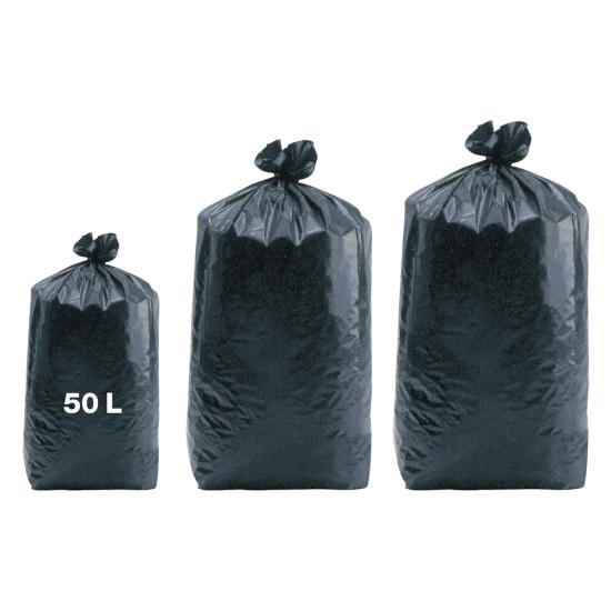 Sacs poubelles professionnel noirs - basse densité - 50 Litres 55µ - 500 par colis REF SPABD351