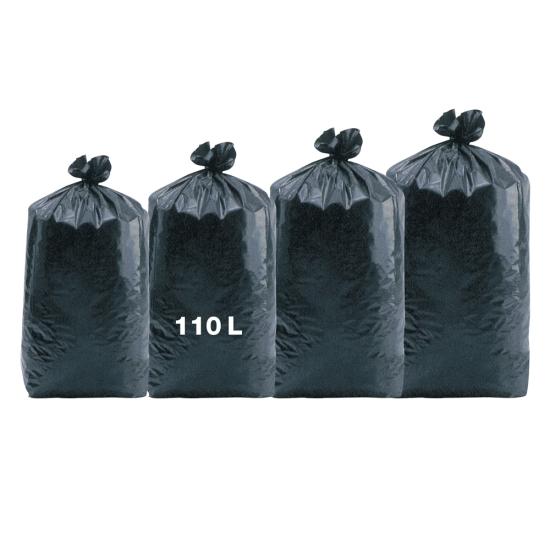 Sacs poubelles professionnel noirs - haute densité - 110 Litres 35µ - 200 par colis REF 10686