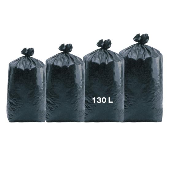 Sacs poubelles professionnel noirs - haute densité - 130 Litres 35µ - 100 par colis  REF 10687