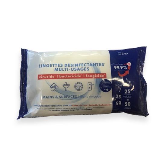 Lingettes désinfectantes - Virucide - Colis de 20 paquets de 50 lingettes - Vendu au colis - Ref. 3844-2