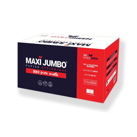 Papier hygiénique professionnel 2 plis maxi jumbo - 350 m - 6 rouleaux par colis - Pure ouate de cellulose blanche - Ref 465 Ecolo Green